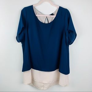 Torrid Navy Blue And Blush Pink Blouse Size 1
